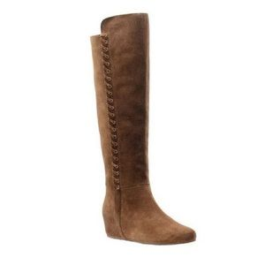 Tall Wedge Boot Isola Tan Boho Leather Suede Lace